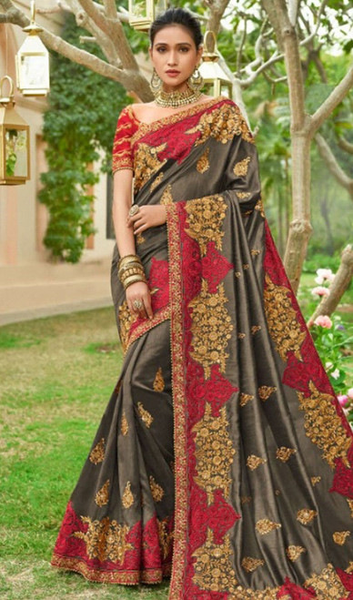 Gray Color Silk Embroidered Designer Sari