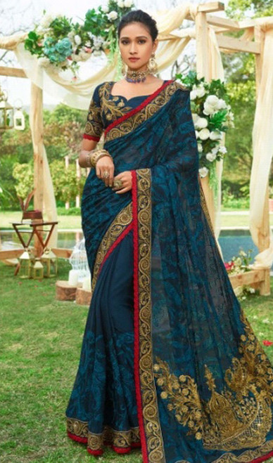 Designer Sari in Blue Color Shaded Silk