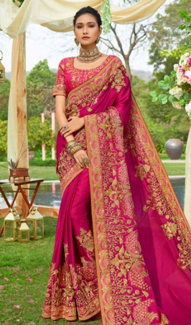 Pink Color Embroidered Resham Silk Sari