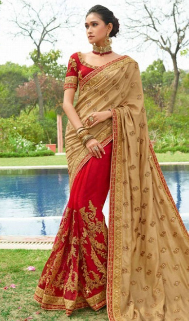 Beige and Red Color Silk Half N Half Sari