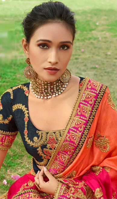 Orange and Pink Color Embroidered Silk Sari