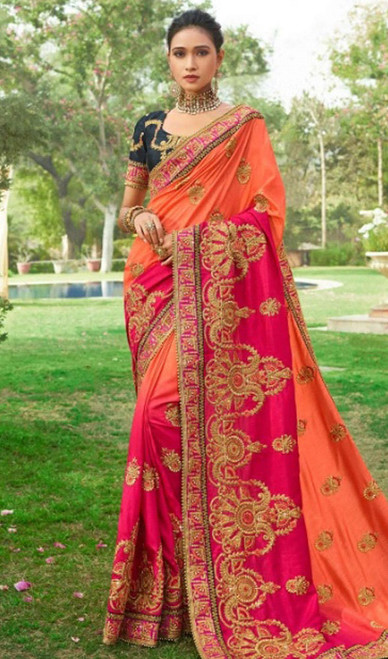 Orange and Pink Color Embroidered Silk Sari