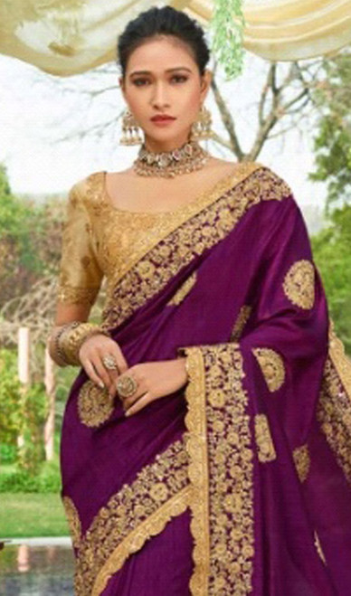 Purple Color Silk Resham Embroidered Sari
