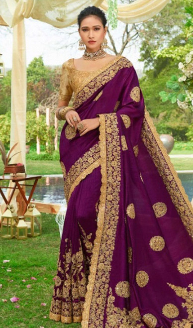 Purple Color Silk Resham Embroidered Sari