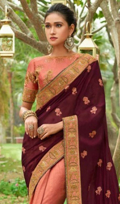 Violet and Peach Color Shaded Silk Sari
