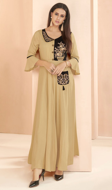Beige Color Embroidered Rayon Tunic