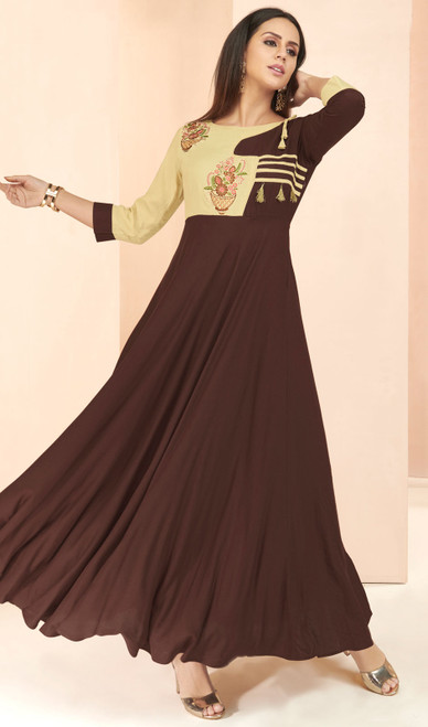 Chocolate and Beige Color Shaded Rayon Tunic
