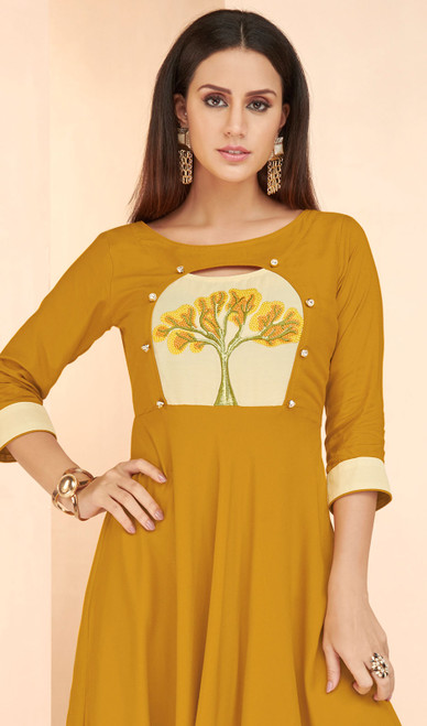 Mustard Color Shaded Rayon Tunic