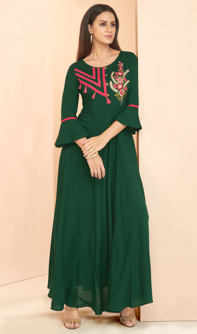 Green Color Embroidered Rayon Tunic