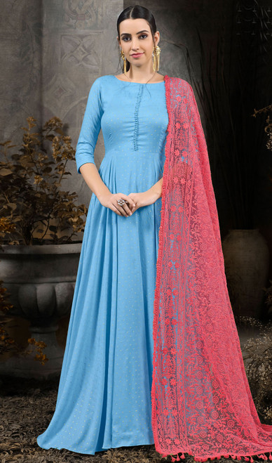 Sky Blue Color Shaded Cotton Gown