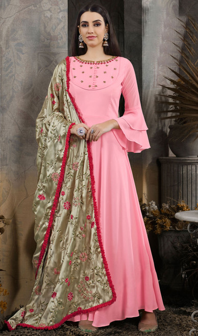 Pink Color Shaded Cotton Gown
