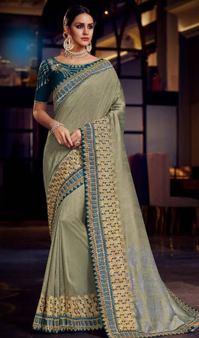 Gray Color Embroidered Fancy Sari