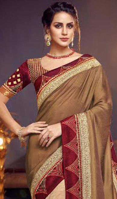 Beige and Cream Color Fancy Half N Half Sari