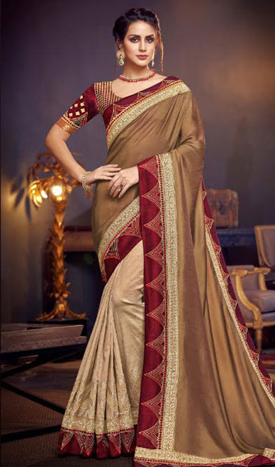 Beige and Cream Color Fancy Half N Half Sari