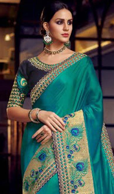 Sky Blue Color Shaded Fancy Sari