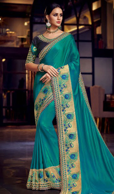 Sky Blue Color Shaded Fancy Sari