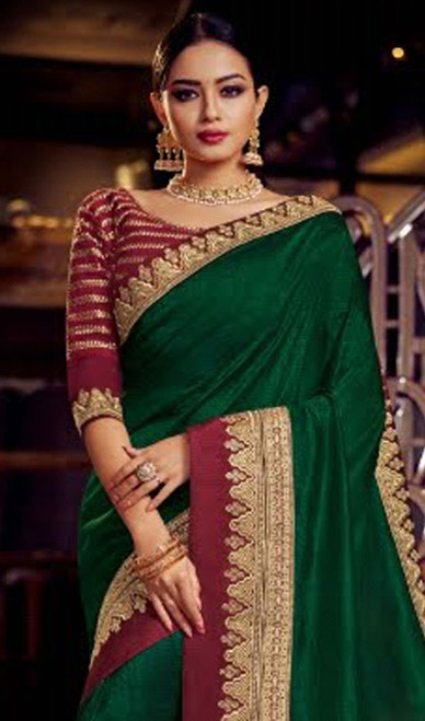 Green Color Embroidered Fancy Sari