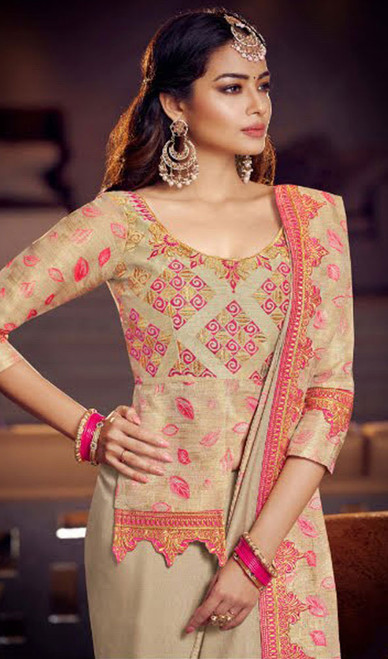 Beige Color Fancy Embroidered Sari