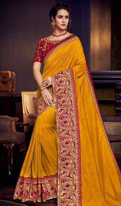 Yellow Color Embroidered Fancy Sari