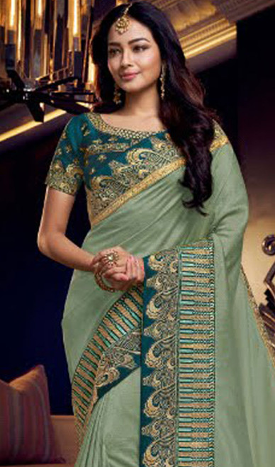 Green Color Shaded Fancy Sari