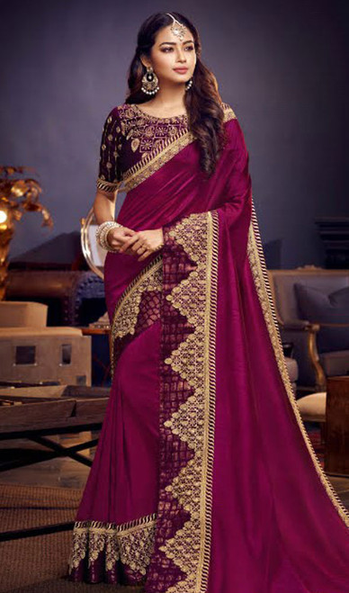 Magenta Color Shaded Embroidered Fancy Sari