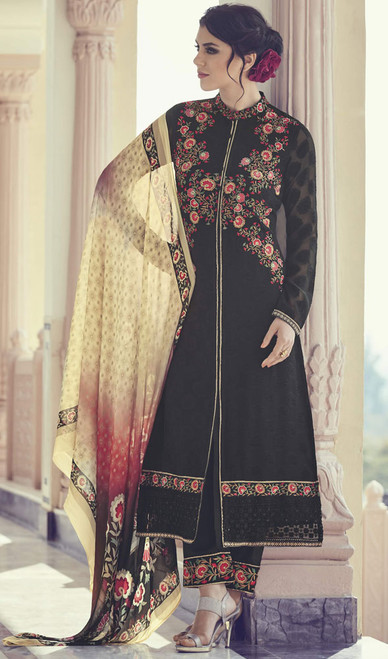 Black Color Georgette Embroidered Pant Style Suit