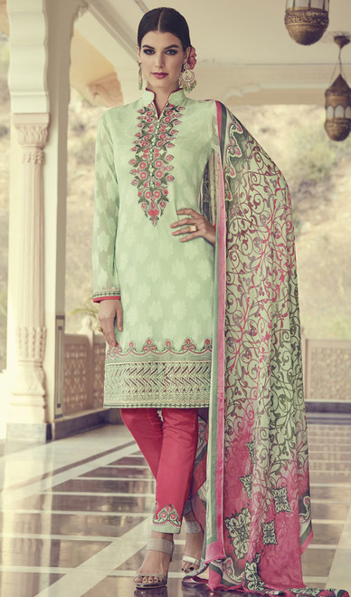 Pista Color Embroidered Georgette Pant Style Suit