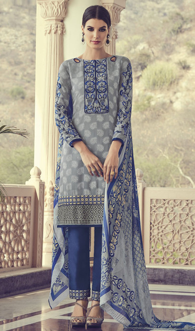 Gray Color Embroidered Georgette Pant Style Suit