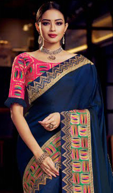 Navy Blue Color Fancy Embroidered Sari