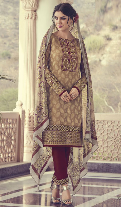 Beige Color Georgette Embroidered Pant Style Suit