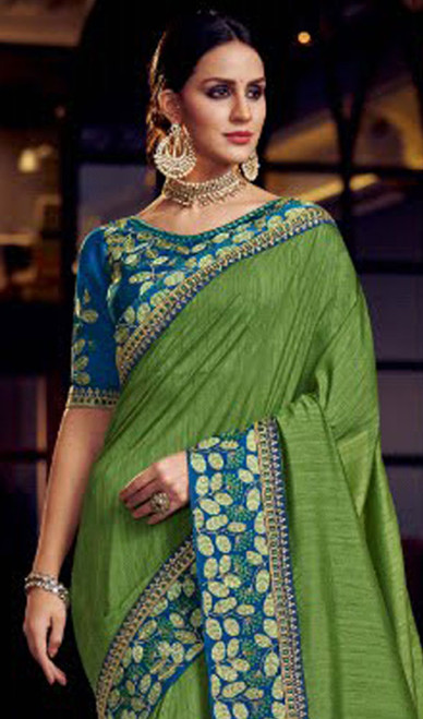 Green Color Fancy Embroidered Sari