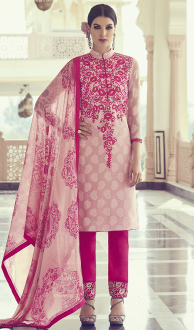Pink Color Embroidered Georgette Pant Style Suit