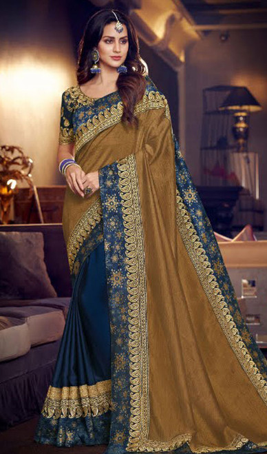 Beige and Blue Color Fancy Half N Half Sari