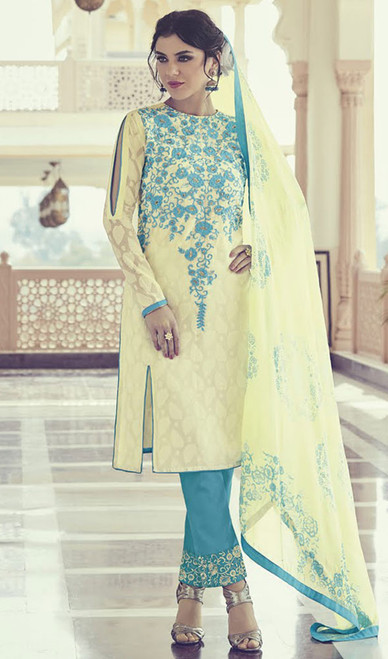 Cream Color Georgette Embroidered Pant Style Suit