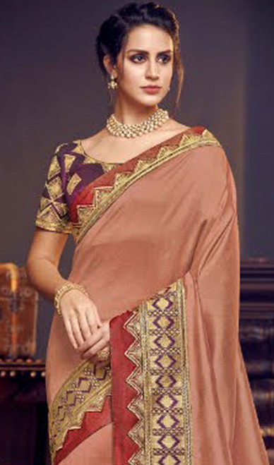 Peach Color Embroidered Fancy Sari