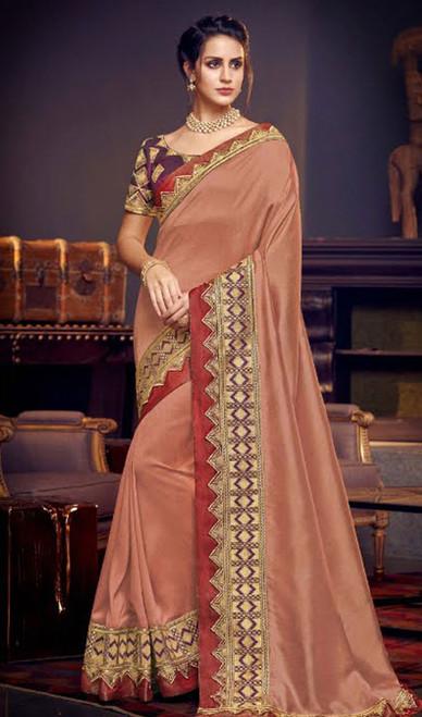Peach Color Embroidered Fancy Sari