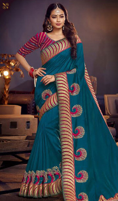 Teal Blue Color Shaded Fancy Sari
