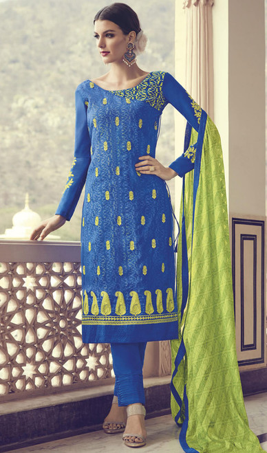 Georgette Blue Color Embroidered  Pant Style Suit
