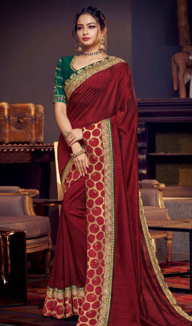 Maroon Color Embroidered Fancy Sari