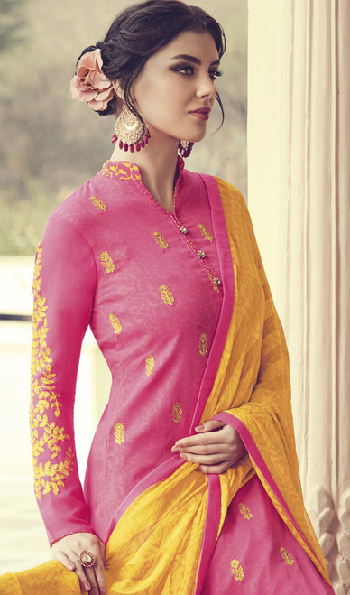 Pant Style Suit in Pink Color Embroidered Georgette