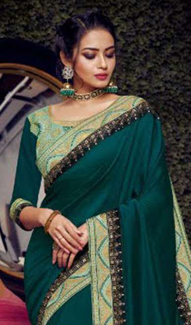Green Color Shaded Fancy Embroidered Sari