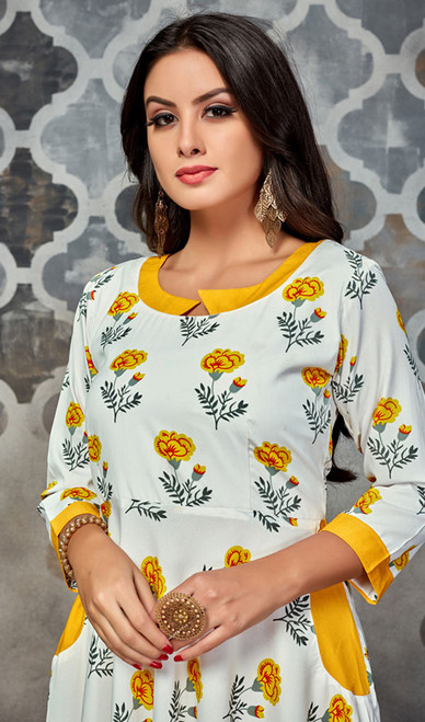 Off White Color Shaded Crepe Printed Tunic