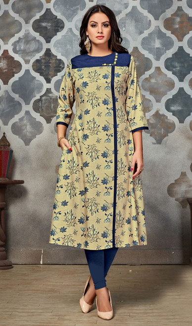 Printed Tunic, Polyster Fabric in Beige and Blue Color