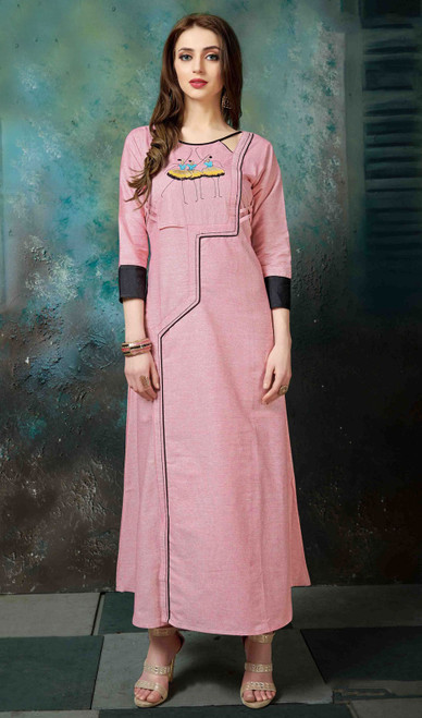 Pink Color Embroidered Cotton Tunic