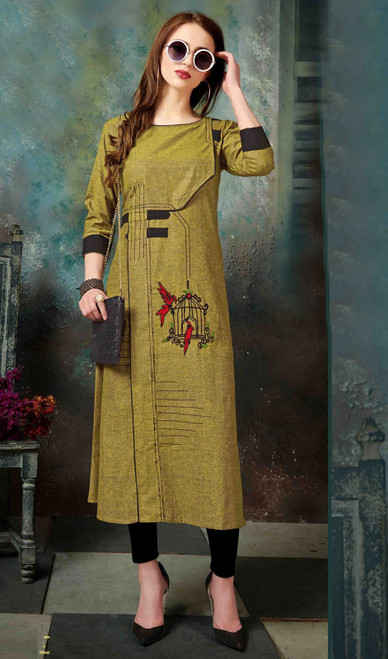 Olive Color Shaded Embroidered Cotton Tunic