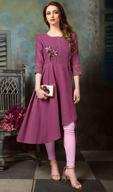 Violet Color Shaded Cotton Tunic