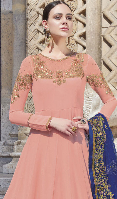 Light Peach Color Silk Embroidered Anarkali Dress