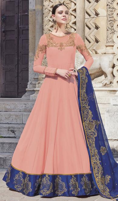 Light Peach Color Silk Embroidered Anarkali Dress