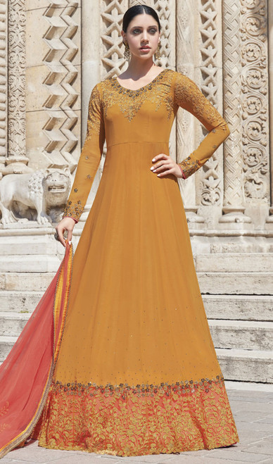 Mustard Color Shaded Embroidered Silk Anarkali