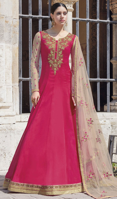 Pink Color Silk Embroidered Anarkali Dress
